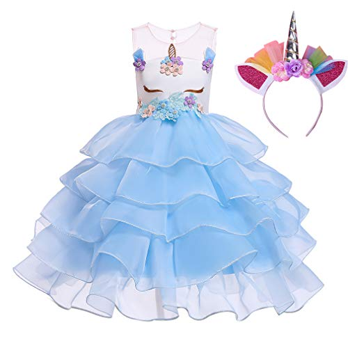 Girls Dress Tutu Skirt with Headband, Fairy Princess Unicorn Costume Tulle Summer Birthday Party Fancy Outfits (XL=131-140cm, Light-Blue)
