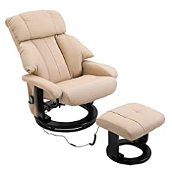 Living Room HOMCOM Heated Sofa Reclining Armchair PU Leather Massage Swivel Recliner Chair and Ottoman with Bentwood Base – White