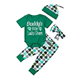 NUWFOR Infant Baby Short Sleeve St. Patrick's Day Romper+Pants+Headbands+Hat Outfits