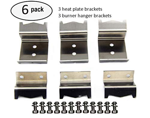 BBQ funland B5050 (Include screws) Stainless steel heat plate brackets, burner hanger brackets replacement for Chargriller 5050 DUO, Chargriller 3001 (set of 6) ()