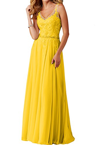 Ivydressing Linie Lang schleppe V Damen Promkleider Abendkleider Ballkleid Spitze Ausschnitt Festkleid Golden Einfach A r8rxqZg