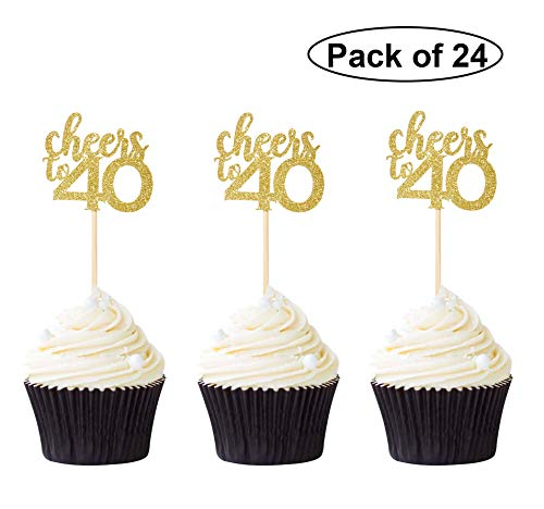 Pack of 24 Cheers to 40 Cupcake Toppers Gold Glitter 40th Birthday Cupcake Picks Anniversary Party Decors (40 Birthday Cup Cake Toppers)