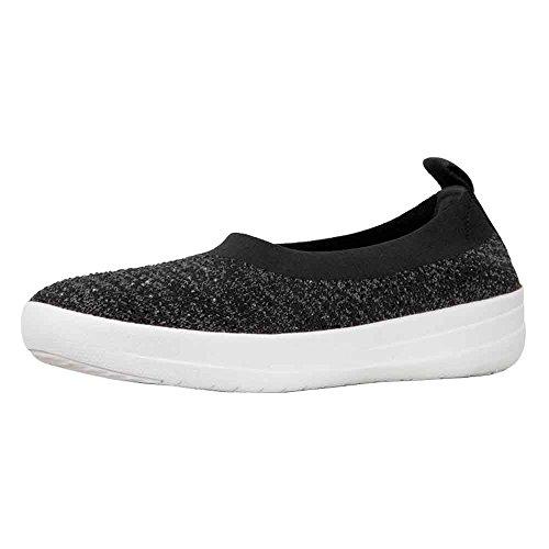 FitFlop Damen Uberknit Ballerina Walking Slip-On Schwarz / Soft Grey