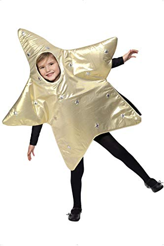 Smiffys Children's Christmas Star Costume, Tabard, Ages 4-6, Size: Small, Color: Gold, -