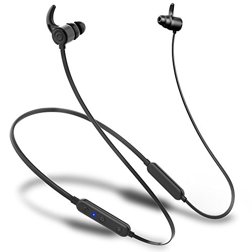 SIHIVIVE Bluetooth Earbuds, Best Wireless Sport Headphones with Mic IPX5 Waterproof ATP-X Stereo Noise Cancelling in Ear Workout Earphones for Running (Black)-2019 Upgrade,Play for More Than 8 Hours
