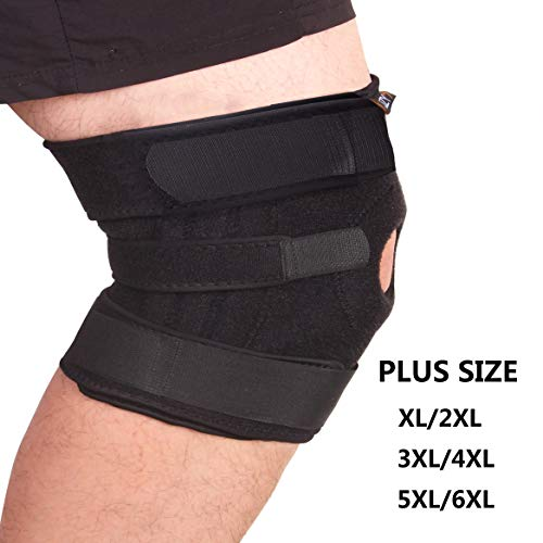 (JZY Knee Brace Plus Size, Adjustable Compression Knee Brace for Women and Men, Open-Patella Stabilizing Knee Brace for Meniscus Tear, Arthritis Pain and Support, ACL, MCL, Sports, Running, Basketball)