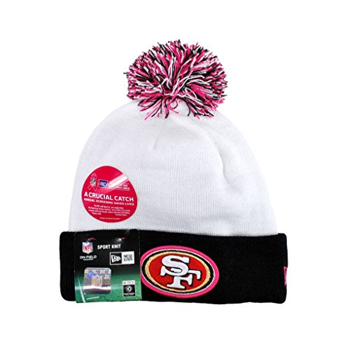 New Era NFL Women's Sport Knit Pom Beanie Breast Cancer ACS Pink (SAN FRANCISCO 49ERS(black/white/pink), 1)
