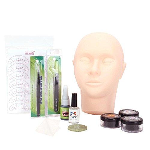 YESURPRISE-11pcs-Mannequin-Training-Head-Practice-Tweezers-Fake-Eyelash-Glue-Makeup-Set-Kit