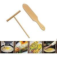 Crêpière en bois Set de spatule en bois | Taille parfaite pour s'adapter à la crêpière moyenne | Éponge et spatule en crêpe de hêtre 100% naturel pour la cuisson