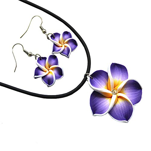Donau Plumeria Fimo Flower Earring Pendant Necklace Jewelry Set 6Colors ()