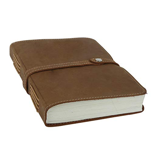 Handmade Leather Journal Sketchbook - Antique Vintage Personal Diary Sketchbook Daily Travel Notepad for Men and Women, Unline Blank Paper (Light Brown One)