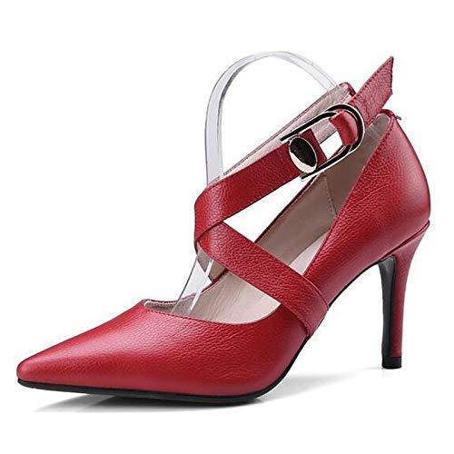 Spring Mujer Black Black Nappa ZHZNVX Stiletto Heel Comfort Heels Red de Zapatos Leather Almond qAxxOX6