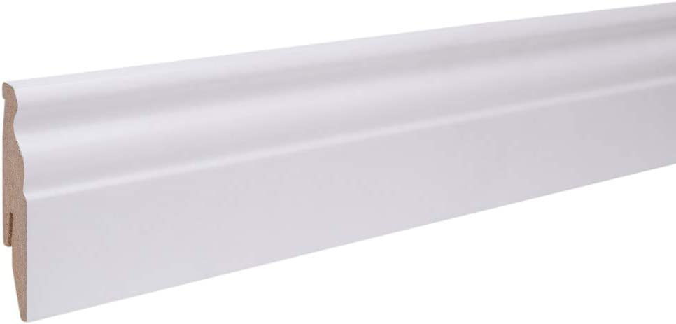 25m Sockelleisten Berliner Profil 60mm All Inclusive Paket Wei/ß