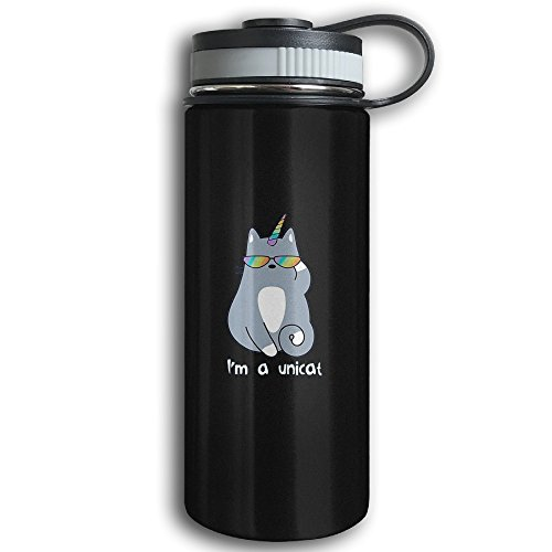 Unicorn Cat Sports Water Bottle - Stainless Steel Double-Wall Vacuum Insulation - Wide Mouth, Leak Proof, Keep Hot Or Cold More Than 12 Hours