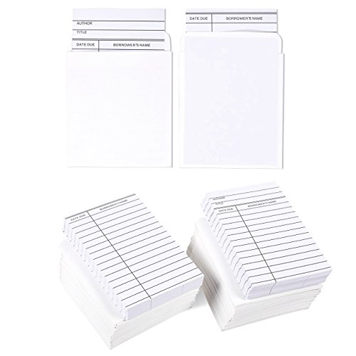 Best Paper Greetings Set of 100 Library Cards and Book Pockets - Library Pockets, Library Card Holder, Book Cards for Public Library Record Keeping, Tracking, Book Borrowing, White Double Sided White Refill Sleeve
