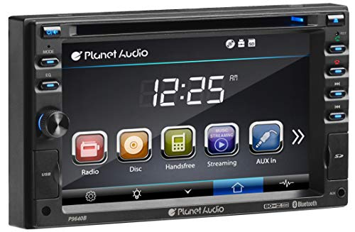 (Planet Audio P9640B Double Din, Touchscreen, Bluetooth, DVD/CD/MP3/USB/SD AM/FM Car Stereo, 6.2 Inch Digital LCD Monitor, Wireless Remote)