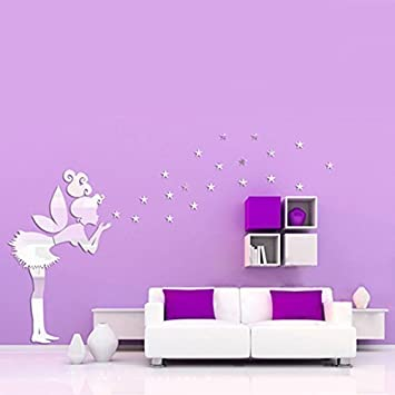 Walplus Mirror Wall Art U0026quot;Tinker Bell Girlu0026quot; Wall Stickers  Removable Self Adhesive