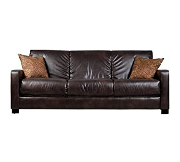 Convert A Couch Brown Renu Leather Futon Sofa Sleeper Comfortable Modern  Contemporary Living Room