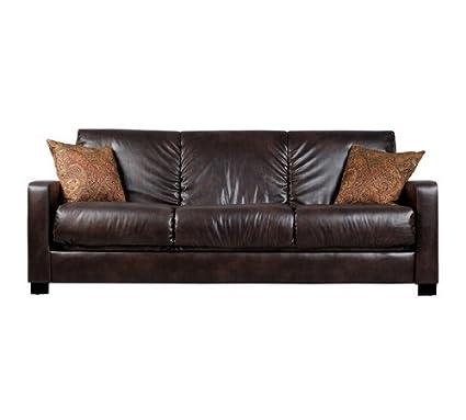Amazon.com: Convert-a-Couch Brown Renu Leather Futon Sofa Sleeper ...