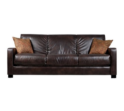 Handy Living Futon - Convert-a-Couch Brown Renu Leather Futon Sofa Sleeper Comfortable Modern Contemporary Living Room Furniture