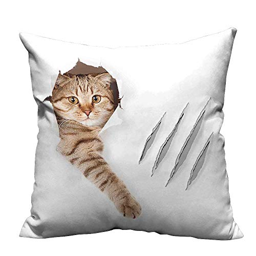YouXianHome Sofa Waist Cushion Cover Cat in Wallpaper Hole with Claw Scratches Playful Kitten Cute Pet Picture Brown Decorative for Kids Adults(Double-Sided Printing) 31.5x31.5 inch (Cushion Pets Cuddle)