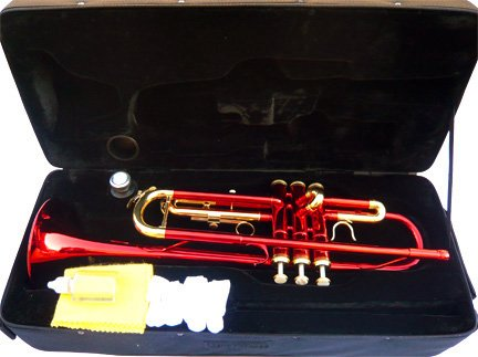New Red Concert Band Trumpet w/case-Approved+Warranty