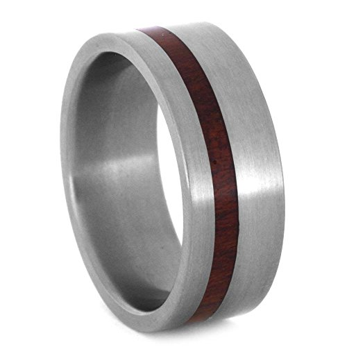 Matte Titanium 8mm Comfort-Fit Bloodwood Band and Sizing Ring, Size, 8.75 by The Men's Jewelry Store (Unisex Jewelry)