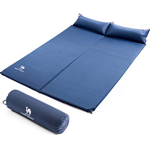 Camel Sleeping Pad, Double Sleep Mat with Pillows, Self-Inflating Foam Padding, for Camping, Picnic, Outdoor, -