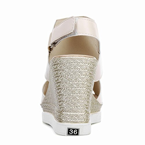 Carolbar Femmes Peep Toe Crochet-et-boucle Plate-forme Cales Sandales Beige