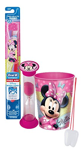 "Disney Minnie Mouse Inspired 3pc. Bright Smile Oral Hygiene Set! Soft Manual Toothbrush, Crest Kids Sparkle Toothpaste & Mouthwash Rise Cup! Plus Bonus ""Remember to Brush"" Visual Aid!"