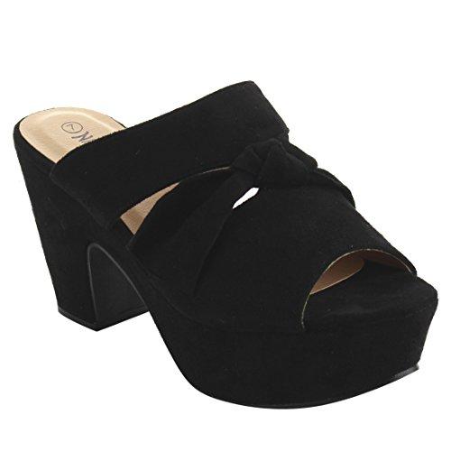 Nature Breeze FI10 Women's Slip On Peep Toe Knotted Platform Mule Sandals, (Platform 8 Mule)