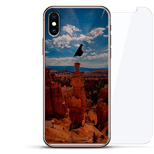 Nature: Canyon Seethrough | Luxendary Un-Case Series Designer Glass Back-Plate Bundled with Front Glass Screen Protector for iPhone Xs Max