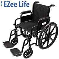 EZee Life Standard Wheelchair with Removable Arms, Swing-Away Removable Footrest (18 inch)