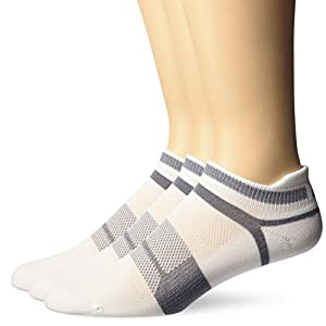 ASICS Quick Lyte Cushion Single Tab Running Socks (3 Pack), White/Grey Heather, Large