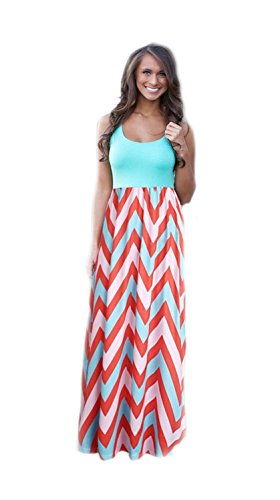 - Shangke Womens Ladies Striped Zig Zag Scoop Neck Chevron Print Tank Maxi Long Party Dress (L, blue)
