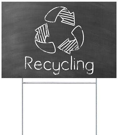 Recycling 27x18 Black Chalkboard Double-Sided Weather-Resistant Yard Sign 5-Pack CGSignLab