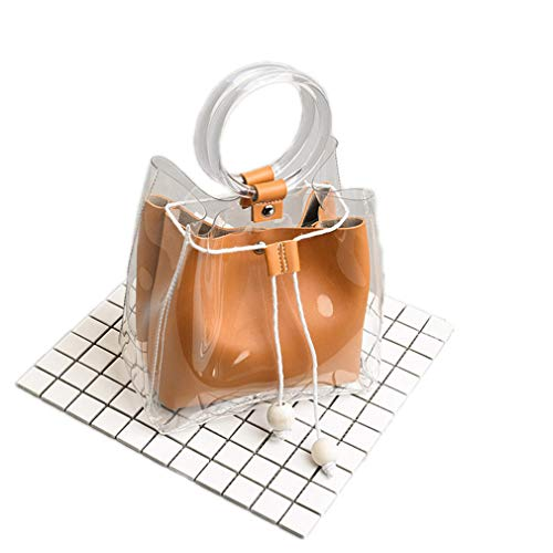 ANANXILA Small Shoulder Bag Clear Transparent Drawstring Girls Cute Composite Bag Female Handbags Orange