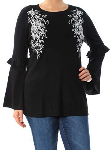 Alfani Sweater - Alfani Embroidered Swing Sweater (Deep Black, L)
