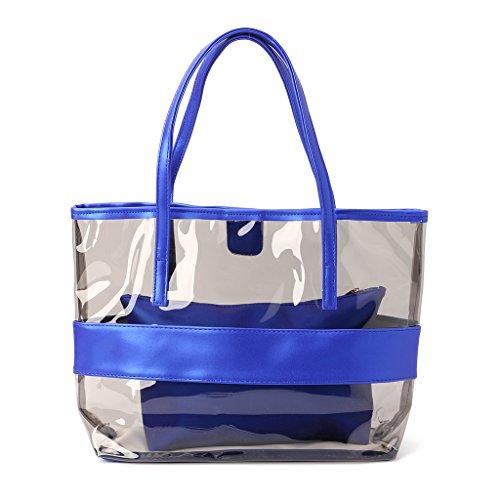 Tote Beach Blue Bags Shopping champagne Jelly Transparent Women Handbag Bag Shoulder Clear Dabixx q8wYpt
