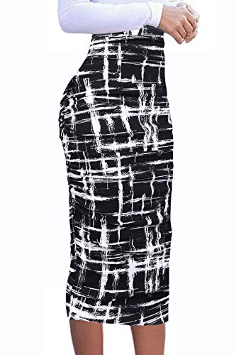 VFSHOW Womens Black and White Geometric Print Ruched Ruffle High Waist Casual Work Office Party Pencil Midi Mid-Calf Skirt 3272 BLK L