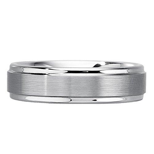 Mens 6mm White Tungsten Wedding Band