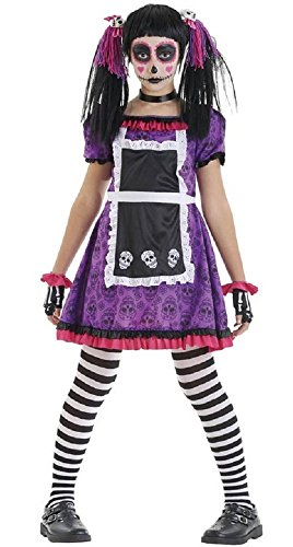 Girls Day of The Dead Doll Mexican Halloween Fancy Dress Costume Outfit 4-12 Years (4-6 -