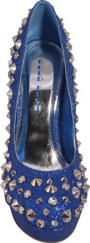Women's Gold Fish JA-NICOLE Crystal Spiked Sparkle Platform Heels Pumps, 8, Blue