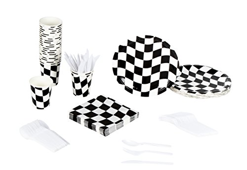 Four Flags Block - Disposable Dinnerware Set - Serves 24 - Checkered Flag Party Supplies - Race Car Themed Parties, Includes Plastic Knives, Spoons, Forks, Paper Plates, Napkins, Cups