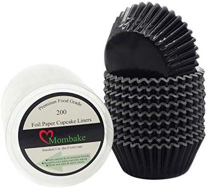 MombakeForros para magdalenas de papel de aluminio negro estándar tazas para hornear muffins para fiestas y más 200 unidades