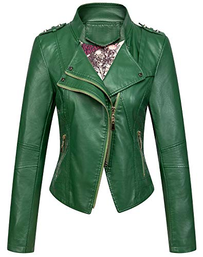chouyatou Women's Candy Color Asymmetric Zip Slim Faux Leather Cropped Moto Jacket (Large, Green)