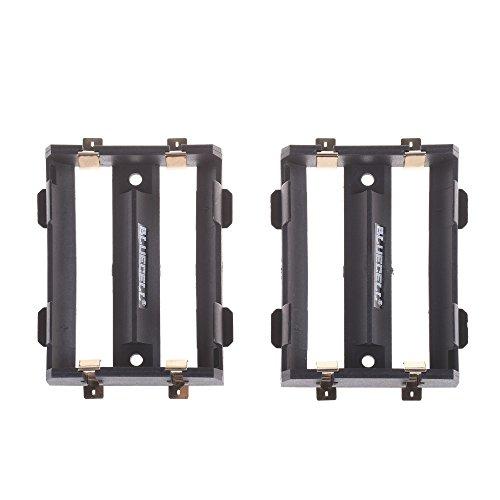 BCP 2PCS Black Color Plastic Double 26650 Battery Holder Case Storage Box
