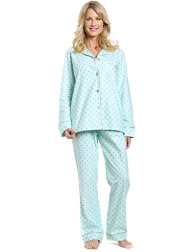 (Women's Cotton Flannel Pajama Sleepwear Set - Dots Diva Aqua-Gray - Small)