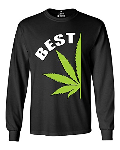 Shop4Ever Best Buds Weed Couple Long Sleeve Shirt Weed Smokers Shirts Large Black 61451]()