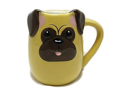 3-d-Figural-PUG-Puppy-Dog-Pup-16-Oz-Coffee-Tea-Mug-Cup-Hand-Painted-By-Tag